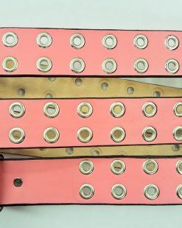 Leather Grommet Belt Light Pink