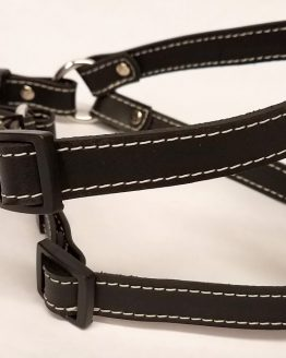 Leather Dog Harness 0.75 Inch Wide-DHS5003-Black