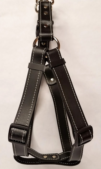 Leather Dog Harness 1 Inch Wide-Black-DHS5001-3