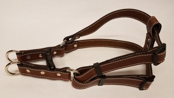 Leather Dog Harness 1 Inch Wide-Brown-DHS5001-2