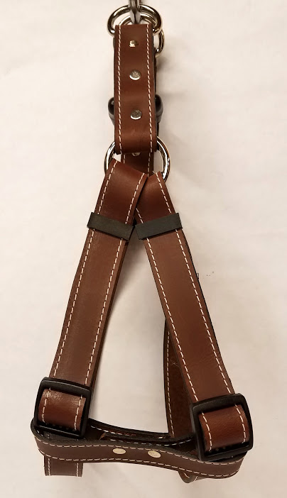 Leather Dog Harness 1 Inch Wide-Brown-DHS5001-3