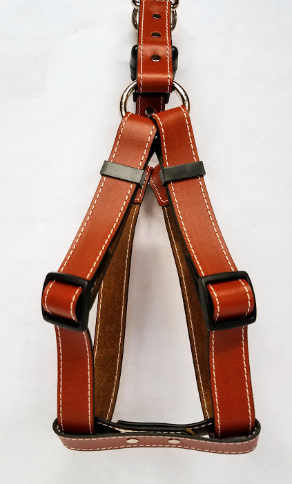 Leather Dog Harness 1 Inch Wide-Tan-DHS5001-2