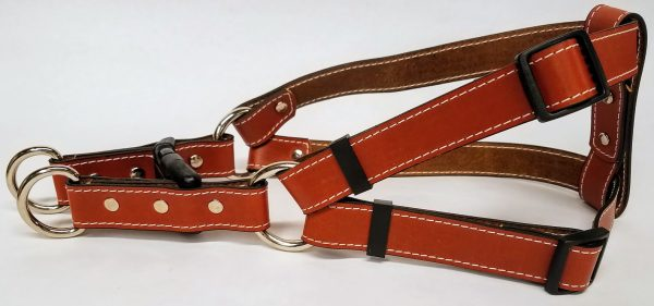 Leather Dog Harness 1 Inch Wide-Tan-DHS5001