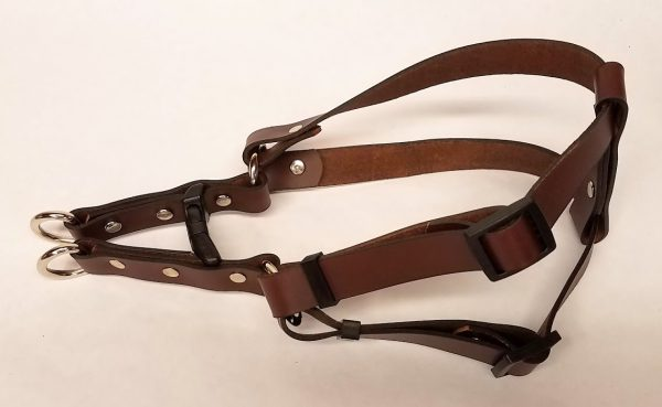 Leather Dog Harness Plain 0.75 Inch Wide-Brown-DHP5002-2