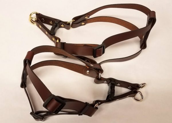 Leather Dog Harness Plain 0.75 Inch Wide-Brown-DHP5002