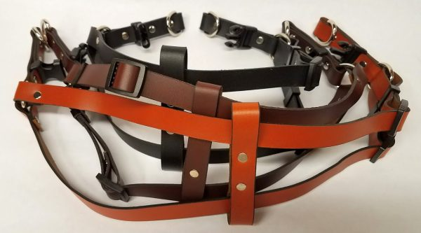 Leather Dog Harness Plain 0.75 Inch Wide-DHP5002-3