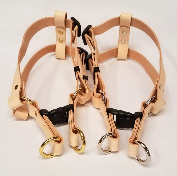 Leather Dog Harness made in the USA.We have used beautiful natural color 5/6 oz. weight natural color leather
