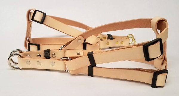 These are 100 % Leather Dog Harness made in the USA.We have used beautiful natural color 5/6 oz. weight Veg. tanned leathe