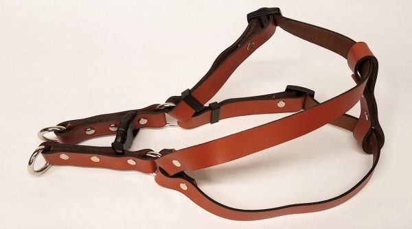 Leather Dog Harness Plain 0.75 Inch Wide-Tan-DHP5002-2