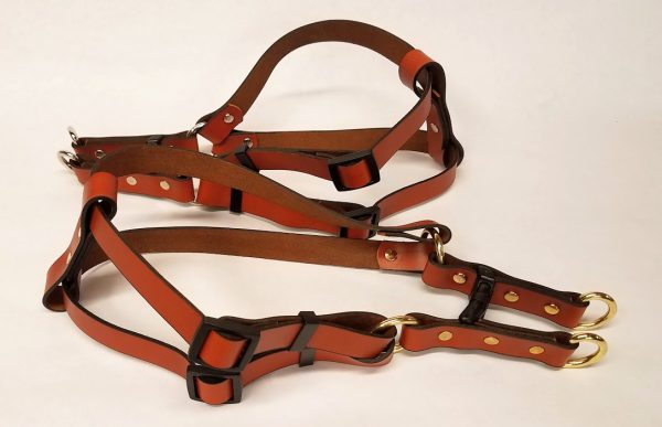 Leather Dog Harness Plain 0.75 Inch Wide-Tan-DHP5002
