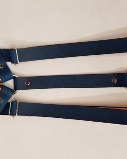 Leather Suspenders Single Back Strap - Blue