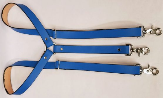 Leather Suspenders Single Back Strap - Light Blue