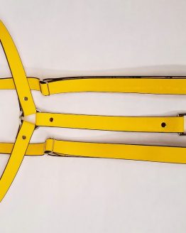 Leather Suspenders Single Back Strap - Yellow